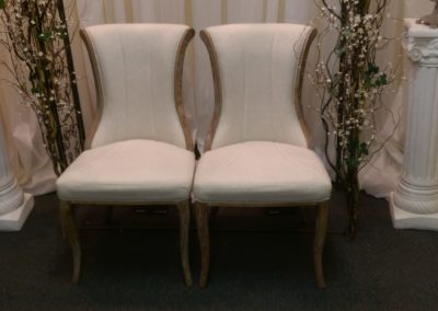 Set of Ivory Upholstered Chairs $50 per set Mirror Cocktail table $25.00