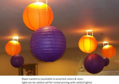 Assortment of Paper Lanterns w/wo lights (many colors, sizes and styles available)