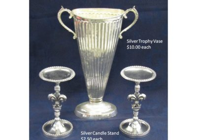 Silver Trophy Vase & Candle Stick
