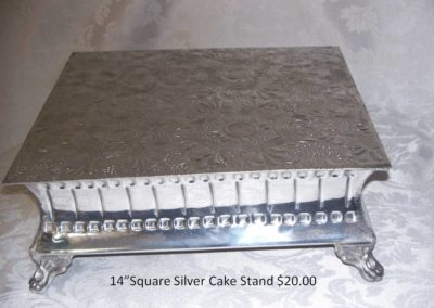 "14"" Sq. Cake Stand $20"
